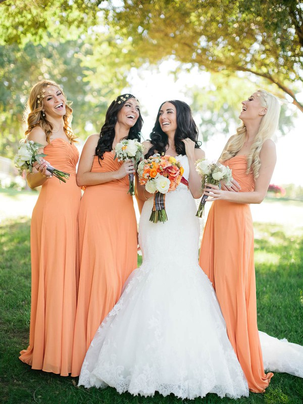 Sweetheart Orange Chiffon Ruffles Best Sheath/Column Bridesmaid Dresses #PDS01012572