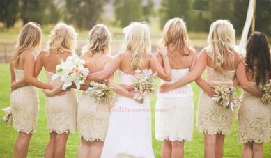 Champagne Lace Sashes/Ribbons Short/Mini Sheath/Column Bridesmaid Dresses #PDS01012574