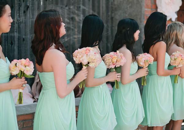 Short/Mini Sweetheart Sage Chiffon with Ruffles Elegant Bridesmaid Dresses #PDS01012575