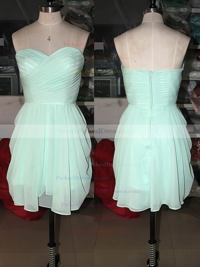 Short/Mini Sweetheart Sage Chiffon with Ruffles Elegant Bridesmaid Dresses #PDS01012575