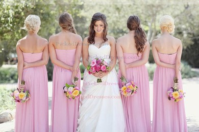 Sweetheart Champagne Chiffon Pleats Cheap Empire Bridesmaid Dresses #PDS01012577