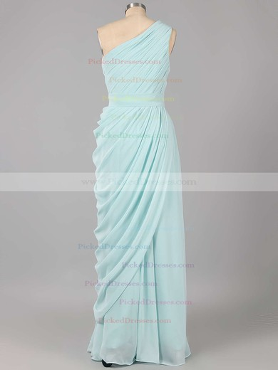Designer Sheath/Column Royal Blue Chiffon Ruched One Shoulder Bridesmaid Dresses #PDS01012578