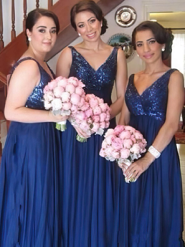 V-neck Chiffon Sequined Straps Empire Royal Blue Online Bridesmaid Dresses #PDS01012579