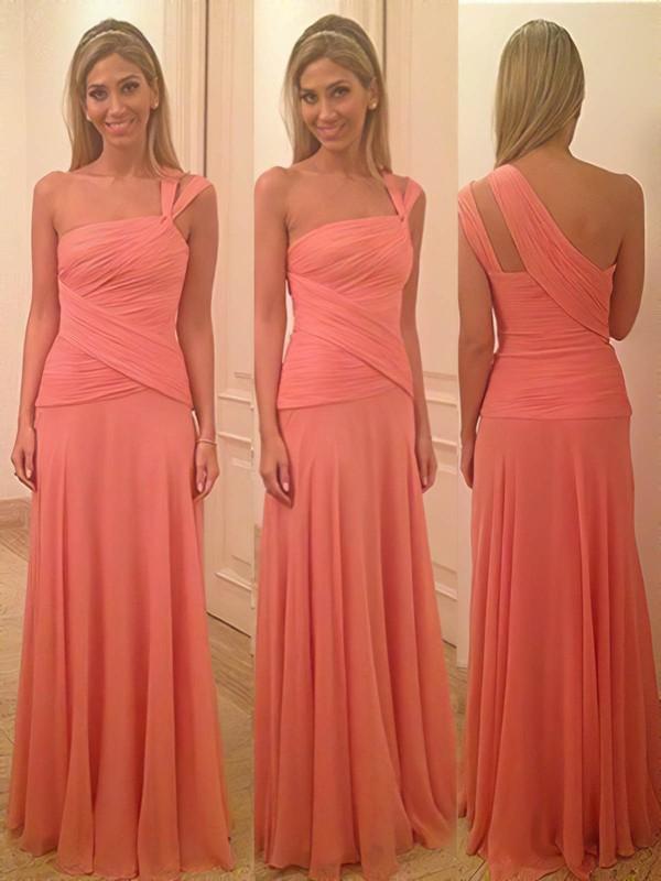 Different Watermelon Ruffles Chiffon Sheath/Column One Shoulder Bridesmaid Dress #PDS01012580