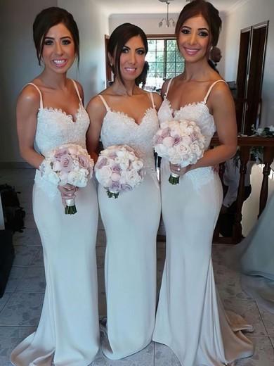a2ddf0e0b3 Ivory Silk-like Satin Appliques Lace Spaghetti Straps Sheath Column Bridesmaid  Dress  PDS01012581
