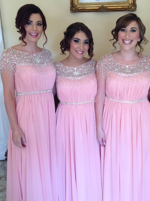 Expensive A-line Scoop Neck Chiffon Beading Pink Bridesmaid Dress #PDS01012583