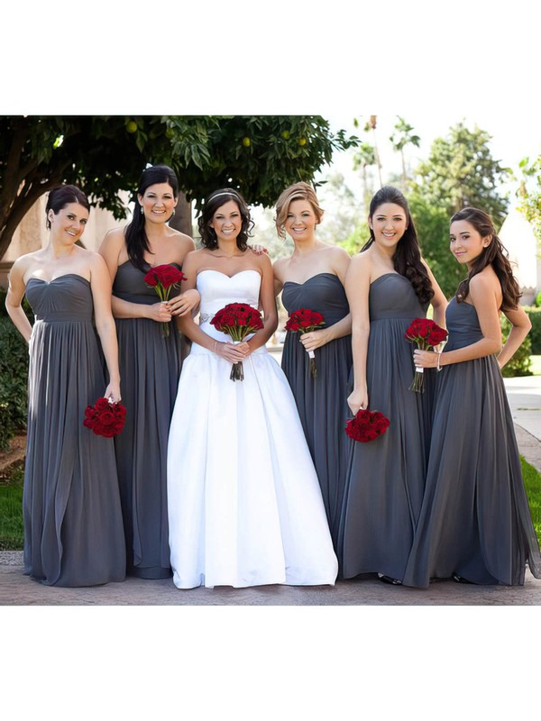 Gray Chiffon Ruffles Empire Sweetheart Discounted Bridesmaid Dress #PDS01012586
