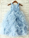 Ankle-length Blue Ruffles Organza Flower(s) Scoop Neck Classy Flower Girl Dress #PDS01031845