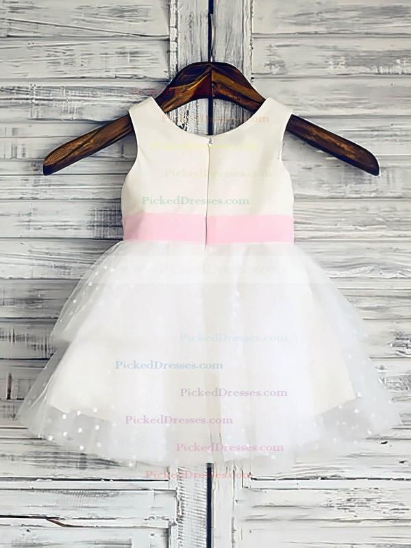Ball Gown White Tulle Elastic Woven Satin Flower(s) Scoop Neck Latest Flower Girl Dress #PDS01031847