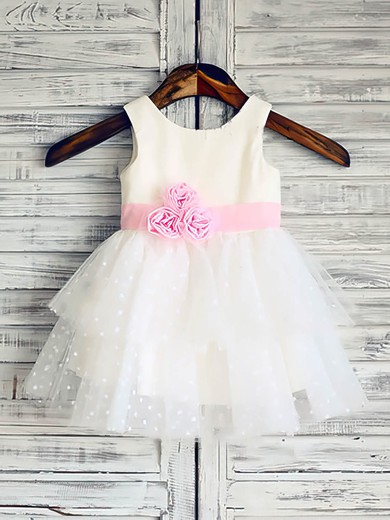 Ball Gown White Tulle Elastic Woven Satin Flower(s) Scoop Neck Latest Flower Girl Dress #PDS01031847