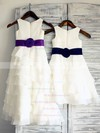 New Tiered Chiffon Elastic Woven Satin Scoop Neck Ivory Ankle-length Flower Girl Dress #PDS01031848