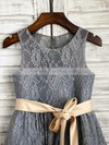 Scoop Neck with Sashes/Ribbons Popular Ankle-length Gray Lace Flower Girl Dresses #PDS01031849