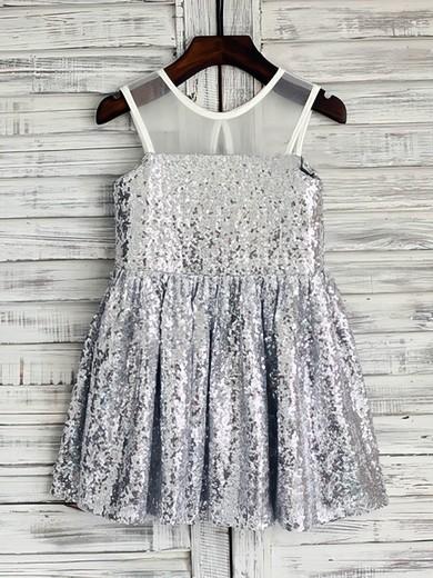 Short/Mini Ruffles Scoop Neck Gorgeous Silver Sequined Flower Girl Dresses #PDS01031850