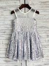 Short/Mini Ruffles Scoop Neck Gorgeous Silver Sequined Flower Girl Dresses #PDS01031850
