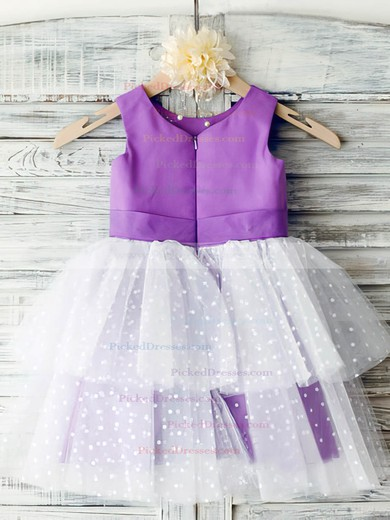 Ankle-length Multi Colours Tiered Satin Tulle with Flower(s) Prettiest Flower Girl Dress #PDS01031851