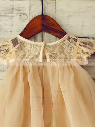 A-line Champagne Lace Chiffon Cap Straps Sashes / Ribbons Scoop Neck Flower Girl Dress #PDS01031852