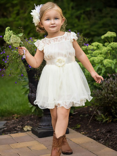 White Scoop Neck Lace Organza Sashes/Ribbons Cap Straps Ankle-length Flower Girl Dress #PDS01031853
