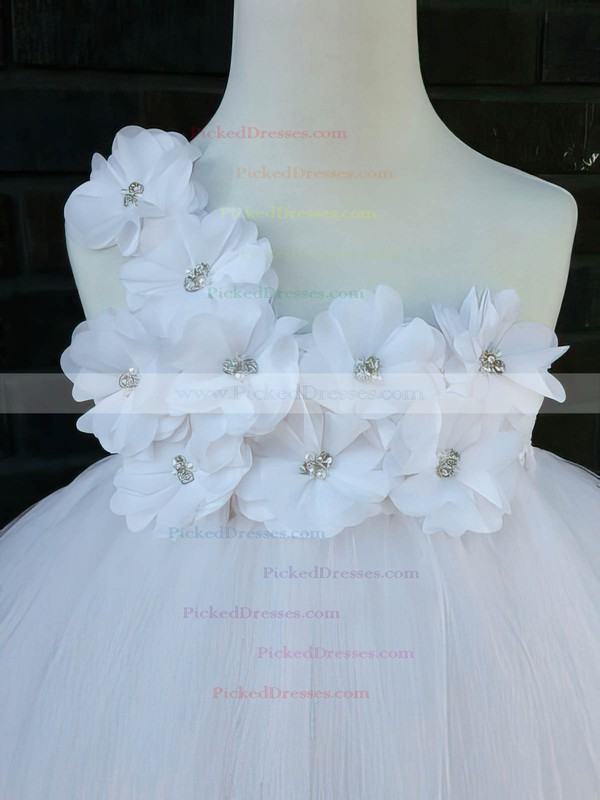 White Ankle-length Good Tulle with Flower(s) Empire One Shoulder Flower Girl Dresses #PDS01031854