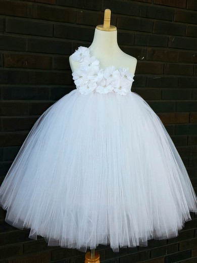 White Ankle-length Good Tulle with Flower(s) Empire One Shoulder Flower Girl Dresses #PDS01031854