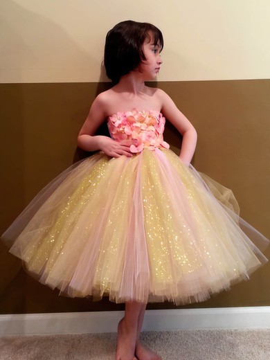 Ball Gown Ankle-length Multi Colours Tulle Bow Detachable Straps Newest Flower Girl Dress #PDS01031855