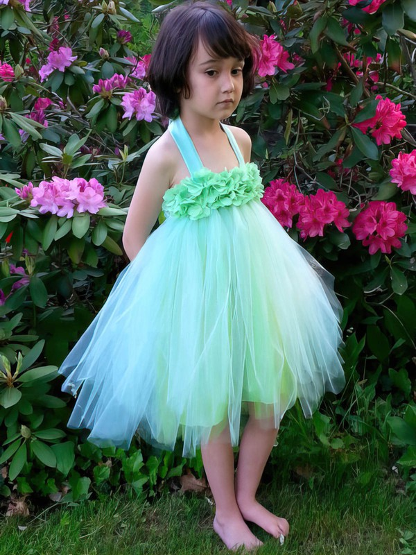 Fashion Empire Tulle Ruffles Knee-length Halter Flower Girl Dresses #PDS01031856