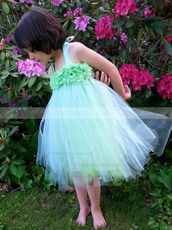 Fashion Empire Tulle Ruffles Knee-length Halter Flower Girl Dresses #PDS01031856