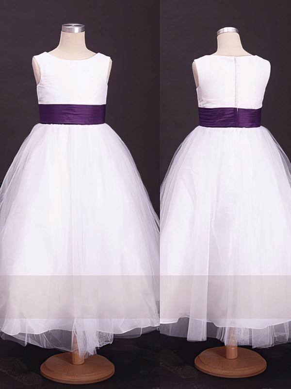 Ankle-length White Scoop Neck Tulle with Sashes/Ribbons Famous Flower Girl Dress #PDS01031857
