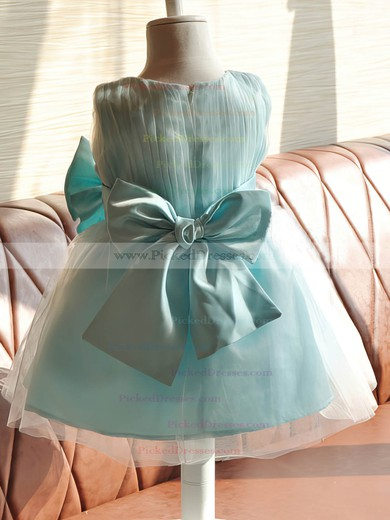 Hot Emerald Satin Tulle Scoop Neck with Bow Knee-length Flower Girl Dresses #PDS01031858
