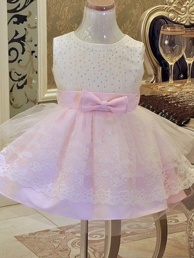 Ball Gown Satin Tulle Lace with Beading Nice Scoop Neck Pink Flower Girl Dress #PDS01031859