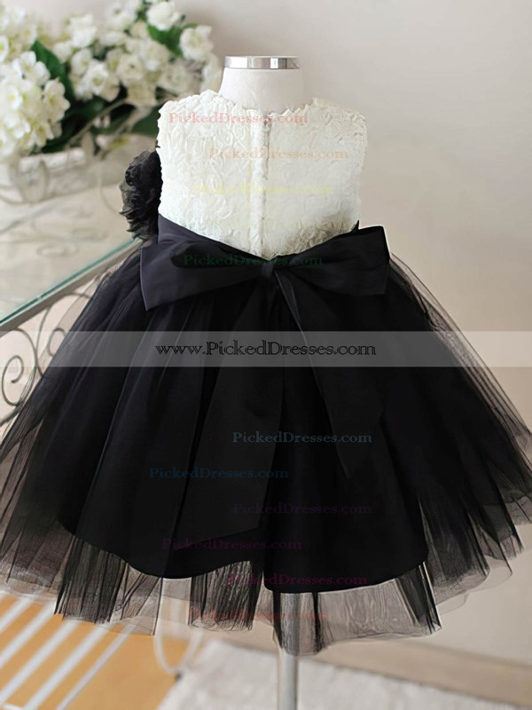 Beautiful Ankle-length Black Tulle with Flower(s) Ball Gown Flower Girl Dresses #PDS01031860