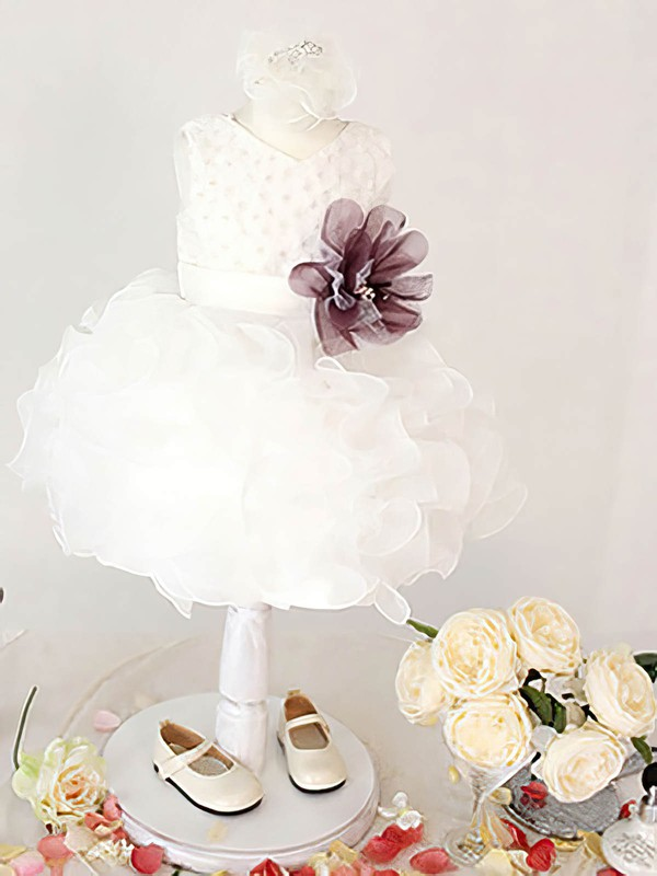 Knee-length White Organza Ball Gown with Flower(s) Nicest Flower Girl Dresses #PDS01031861