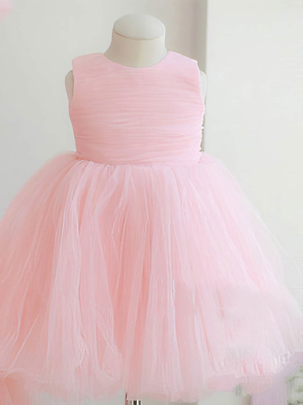Best Scoop Neck Tulle with Bow Back Ball Gown Pink Flower Girl Dresses #PDS01031862