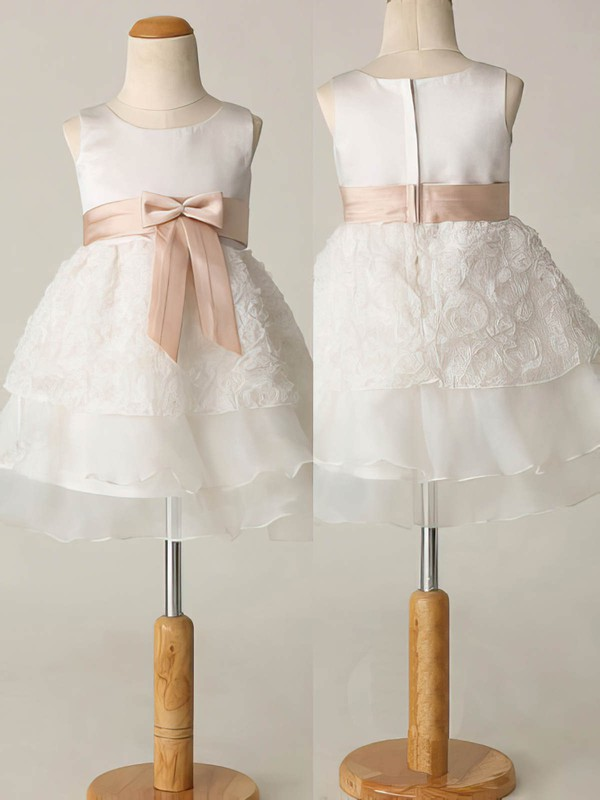Short/Mini Tiered Ivory Chiffon Elastic Woven Satin Sashes / Ribbons Scoop Neck Flower Girl Dresses #PDS01031863