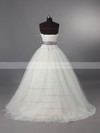 2016 Ivory Lace Tulle Lace-up with Sashes/Ribbon Ball Gown Wedding Dress #PDS00011115