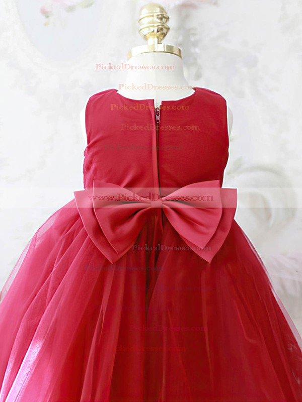 Scoop Neck Red Tulle Elastic Woven Satin Bow Ball Gown Flower Girl Dresses #PDS01031864