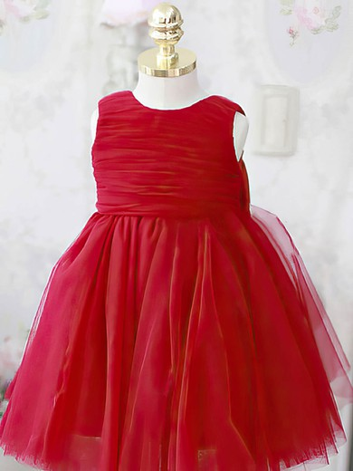 Scoop Neck Red Tulle Elastic Woven Satin Bow Ball Gown Flower Girl Dresses #PDS01031864