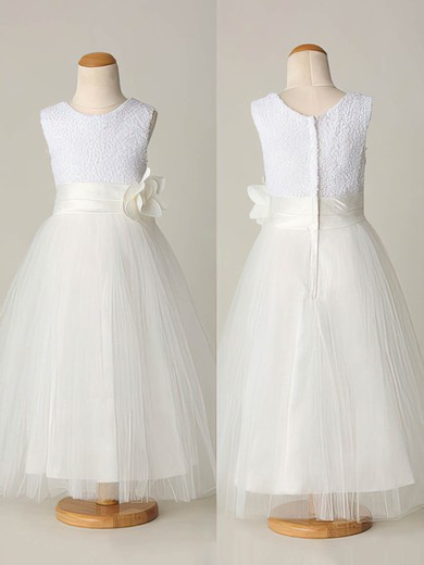 Pretty Ankle-length Tulle Sequined with Flower(s) Scoop Neck Flower Girl Dresses #PDS01031865