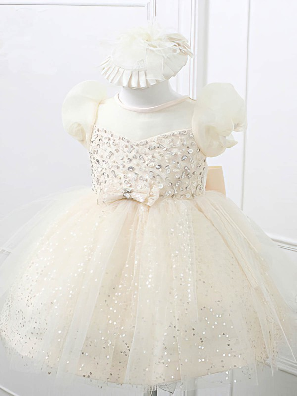 Beautiful Knee-length Ivory Satin Tulle with Beading and Bow Scoop Neck Flower Girl Dresses #PDS01031866