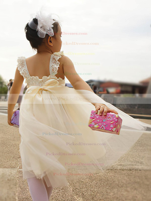 Cute Ivory A-line Tulle with Sashes/Ribbons Square Neckline Flower Girl Dress #PDS01031867