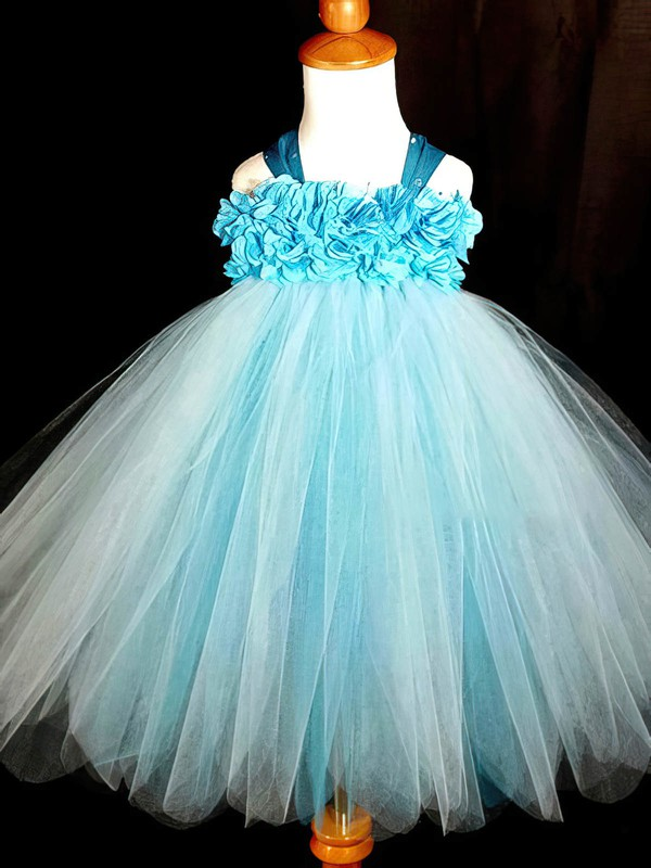 Halter Blue Tulle with Flower(s) and Bow Back Nice Ankle-length Flower Girl Dresses #PDS01031868