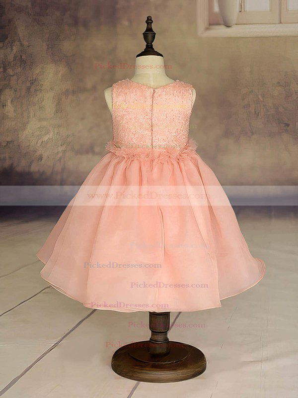 Ankle-length Orange Organza with Ruffles Scoop Neck Cheap Flower Girl Dresses #PDS01031869