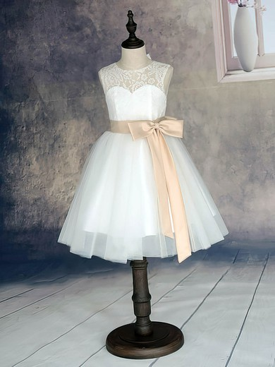 White Scoop Neck Lace Tulle with Sashes/Ribbons Ankle-length Flower Girl Dress #PDS01031870