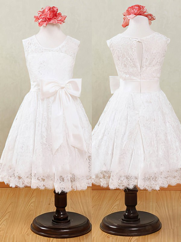 Pretty Scoop Neck Lace with Sashes / Ribbons Ankle-length White Flower Girl Dresses #PDS01031871