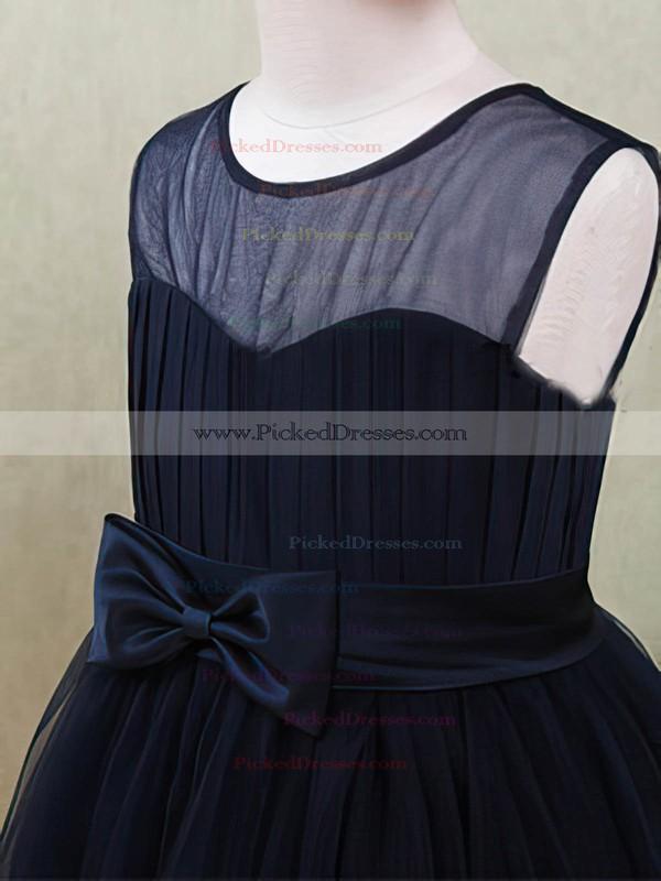 Ankle-length Dark Navy Tulle with Flower(s) Scoop Neck Flower Girl Dresses #PDS01031872