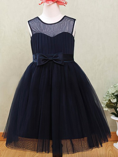 Ankle-length Dark Navy Tulle with Flower(s) Scoop Neck Flower Girl Dresses #PDS01031872