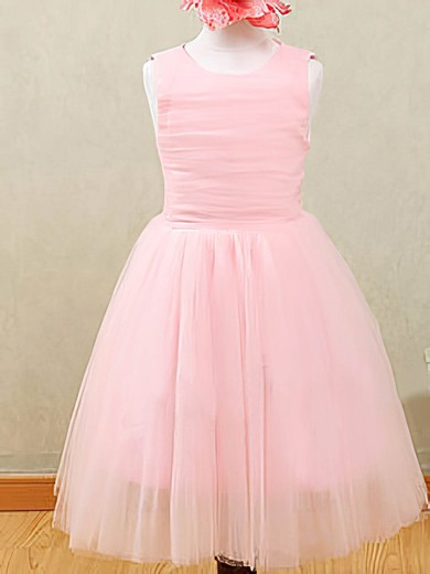 Beautiful Pink A-line Tulle with Ruffles Scoop Neck Flower Girl Dresses #PDS01031873
