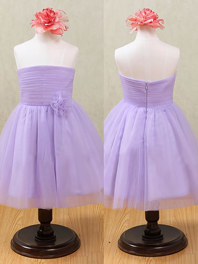 Strapless Lavender Tulle Flower(s) Ankle-length Zipper Back Flower Girl Dresses #PDS01031874