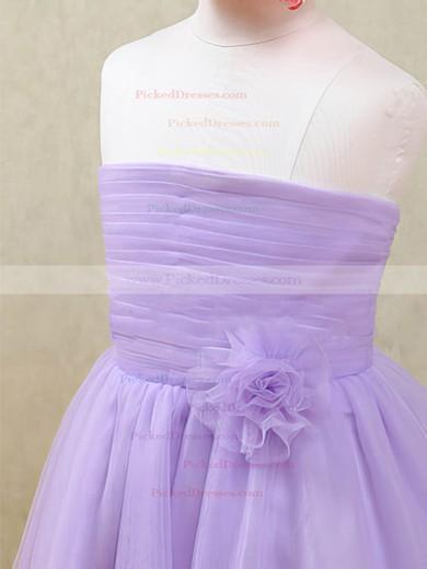 Strapless Lavender Tulle Flower(s) Ankle-length Zipper Back Flower Girl Dresses #PDS01031874