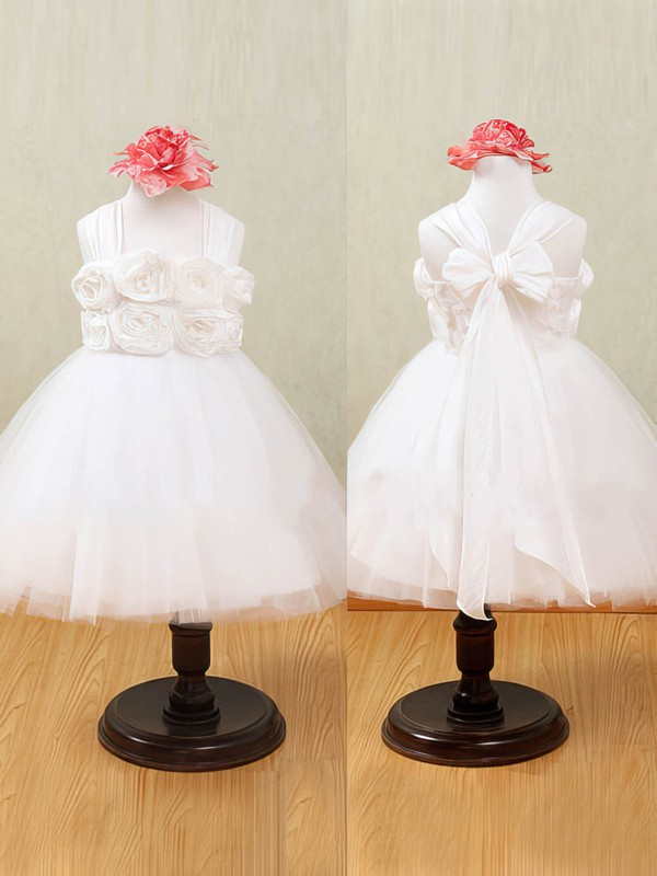 Halter Pretty White Tulle Flower(s) Ankle-length Flower Girl Dress #PDS01031876
