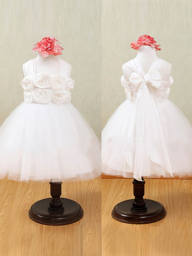 Halter Pretty White Tulle Flower(s) Ankle-length Flower Girl Dress #PDS01031876